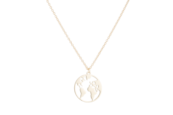 Lady'S Simple Retro Global Map Round Alloy Necklace Yellow