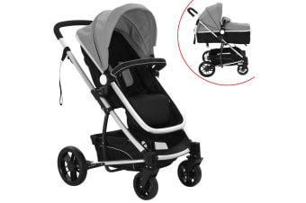 vidaXL 2-in-1 Baby Stroller/Pram Aluminium Grey and Black