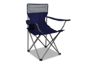 Set of 2 Portable Folding Camping Arm Chair (Navy)