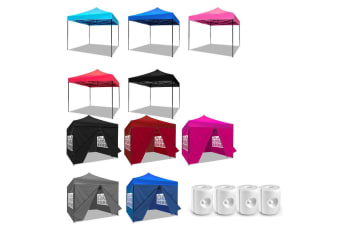 3x3m Pop Up Gazebo Marquee Canopy Folding Tent Outdoor Event Camping & Base Pods  -  Set 2 Sky Blue