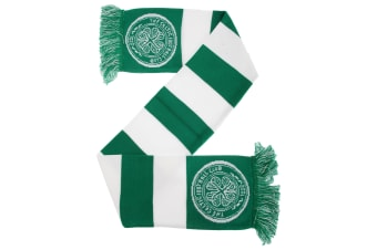 Celtic FC Official Football Supporters Crest/Logo Bar Scarf (Green/White)