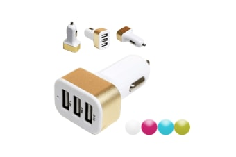 3-Port USB Car Charger - White/Pink