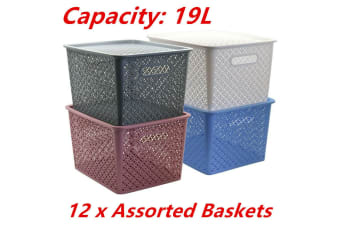 12 x LARGE Stack-able 19L Woven Plastic Storage Basket with Lid Bins Tubs Drawers
