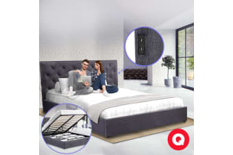Royal Sleep Queen Bed Frame Gas Lift Platform Base Mattress Fabric Charcoal USB