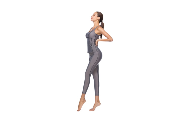 Women'S Tight-Fitting Nine-Sleeve Sports And Leisure Yoga Set Grey M