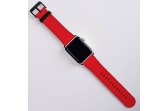For Apple Watch Band (42mm) Series 1  2  3 & 4 Vegan Leather Strap iWatch Red