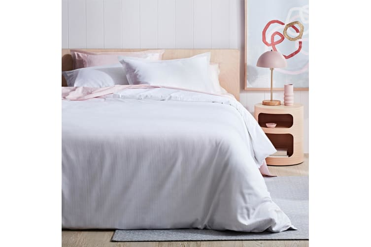 Canningvale 1000TC Quilt Cover Set - Queen Bed - Palazzo Linea  Crisp White with Heavenly Pink Stripe