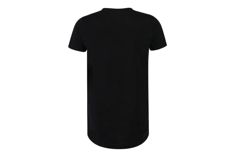 SF Minni Childrens Boys Long Line Dipped Hem T-Shirt (Black) (9-10 Years)