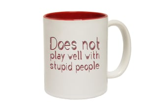 123T Funny Mugs - Does Not Play Well With Stupid - Red Coffee Cup