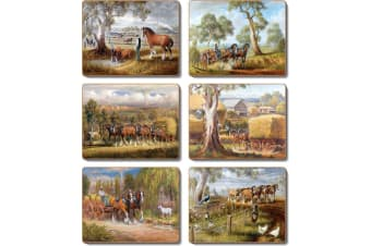 Cinnamon Working Horses Placemats Set of 6