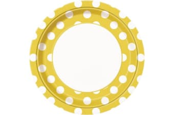 Unique Party Polka Dot Paper Plates (Pack Of 8) (Yellow/White)