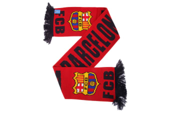FC Barcelona Official Knitted Football Crest Wordmark Scarf (Red/Navy) (One Size)