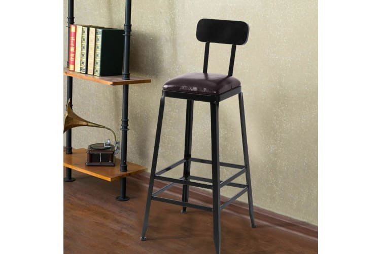 2x Vintage Industry Rustic Bar Stool Home Kitchen Pub Square PU Seat High Back