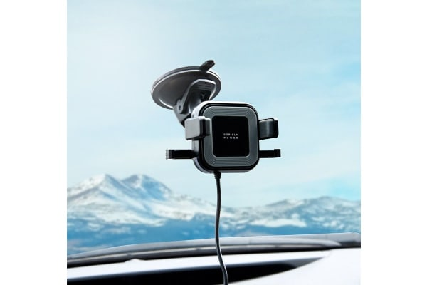 mBeat Gorilla Power 10W Wireless Car Charger with 2.4A USB Charging, Air Vent Clip & Windshield Stand