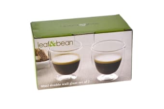 Leaf And Bean 80ml Double Wall Glass Set Of 2