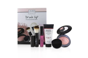 Laura Geller Drink Up 4 Piece Hydrating Essentials Collection (1x Primer, 1x Blush, 1x Lip Gloss, 1x Brush) 4pcs