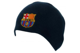 FC Barcelona Unisex Adults Knitted Dome Hat (Navy) (One Size)