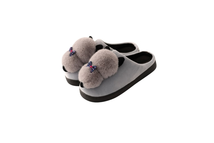 Unisex Cute Cartoon Cozy Memory Foam Slippers With Fuzzy Plush Wool-Like Lining - Grey Grey 40-41