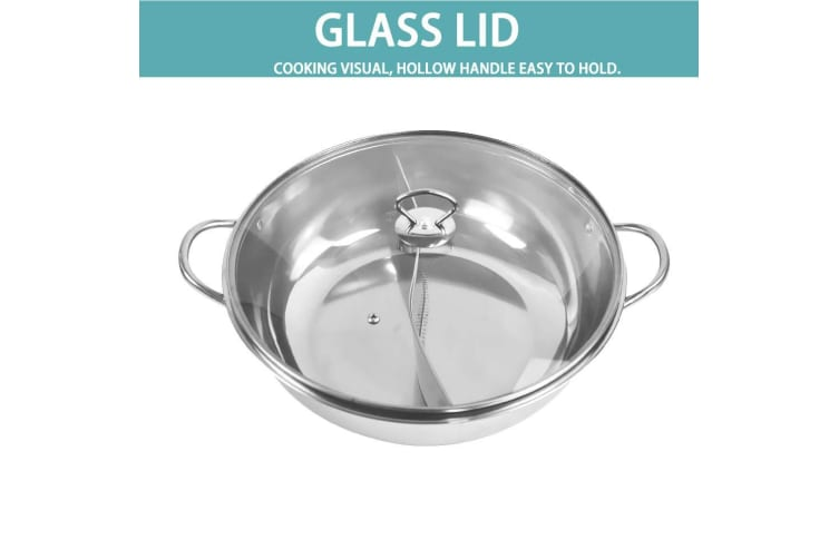 Stainless Steel Twin Mandarin Duck Hot Pot Induction Hotpot Cooker Cookware  -  34CM WITHOUT LID
