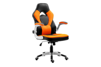 Executive PU Leather Office Computer Chair Ergonomic Sport Gaming Racing Seat - Orange & Black