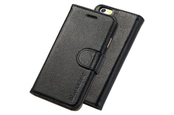 For iPhone SE 5S 5 Cover iCoverLover Genuine Cow Leather Wallet Case Black