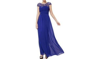 Womens Cap Sleeve Lace Neckline Ruched Bust Evening Gown Blue Xl
