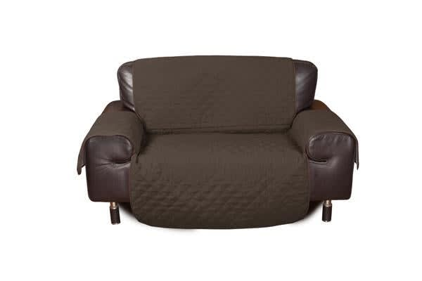 2 Seater Quilted Sofa Protector Throw Furniture Protector Cover COFFEE