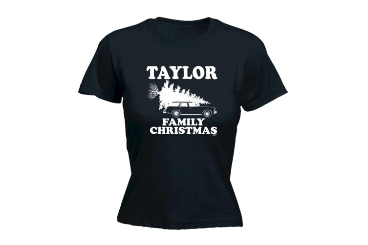123T Funny Tee - Taylor Family Christmas - (Large Black Womens T Shirt)