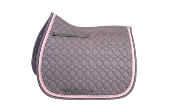 HySPEED Deluxe Saddle Pad With Cord Binding (Grey/Grey/Pink/Silver) (Cob/Full)