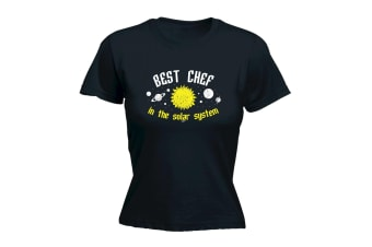 123T Funny Tee - Best Chef In The Solar System - (Large Black Womens T Shirt)