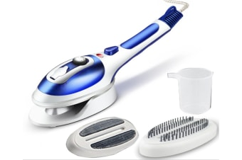 Hand Held Fabric Steam Iron, Fast Heat-up Household Travel Garment Steamer with Ceramic Soleplate - 2 Fabric Brush Included-BLUE