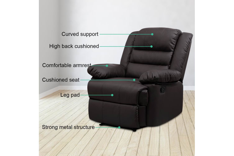 Super Luxury Pu Leather Recliner Chair Armchair Lounging Sofa Brown Ncnpc Chair Design For Home Ncnpcorg