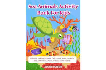 Sea Animals Activity Book For Kids Ages 3-5, 6-8