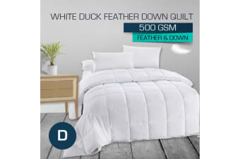 Double Size 500GSM 50/50 White Duck Down Feather Quilt-Winter Weight