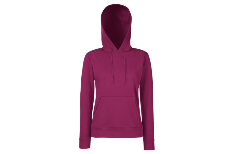Fruit Of The Loom Ladies Lady Fit Hooded Sweatshirt / Hoodie (Burgundy) (XL)