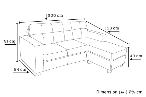 Nowra Sofa with Chaise (Black)