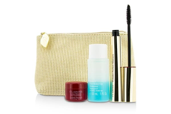 Clarins Perfect Eyes Collection:  1x Wonder Perfect Mascara, 1x Instant Smooth Perfect Touch, 1x Eye M/U Remover, 1x Bag (3pcs+1bag)