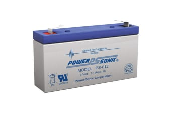 Power Sonic PS612 6V 1.4AMP SLA Rechargeable Battery F1 Terminal Sealed Lead