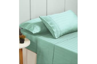 New Bed Sheets Set 1000TC Cotton Blend Flat Fitted Double/Queen/King Size - King - Sprout Green