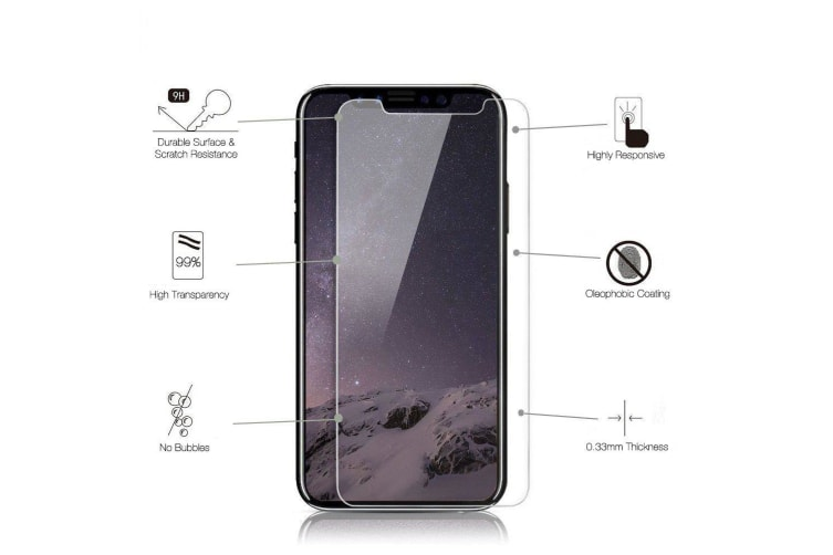 Transparent 2-Pack For iPhone 11 Pro MAX XS MAX Tempered Glass Screen Protector