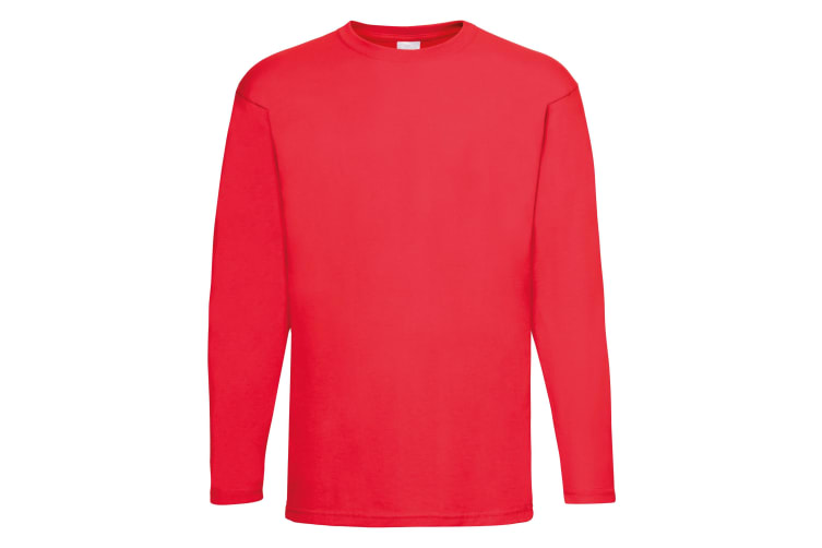 Mens Value Long Sleeve Casual T-Shirt (Bright Red) (X Large)