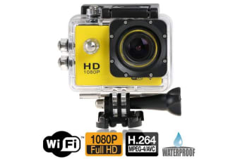 "Full Hd 1080P Sports Dv Camera 30M Waterproof + Wifi 1.5"" Lcd Mount Yellow"