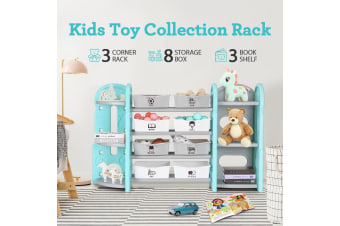Kids Plaything Toy Rack Bookshelf Storage - Blue