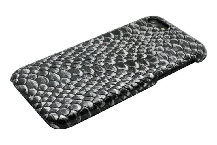 For iPhone 8 7 Case Modern Lizard Skin Textured Leather Back Shell Cover Black