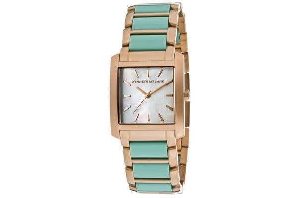 KJ LANE Women's White MOP Dial Rose Gold Tone IP Stainless Steel and Turquoise Resin (KJLANE-1614)