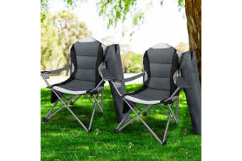 Weisshorn Set of 2 Folding Camping Arm Chairs Portable Outdoor Garden Fishing Picnic Holidays