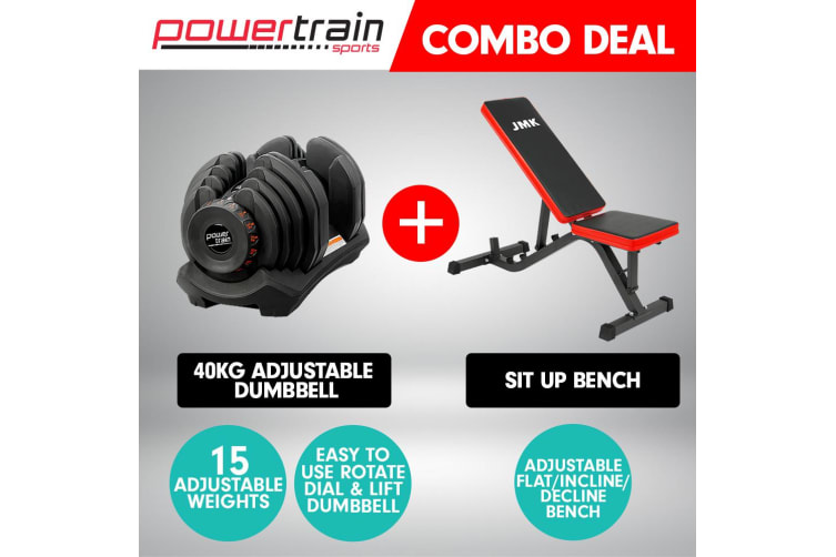 40kg Powertrain Adjustable Dumbbell  Home Gym with Bench