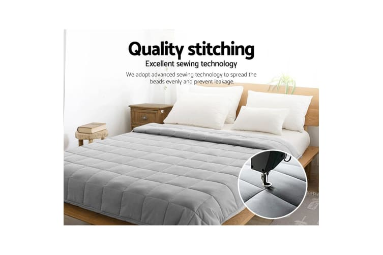 Giselle Bedding 9KG Cotton Weighted Gravity Heavy Blanket Deep Relax Adult Grey