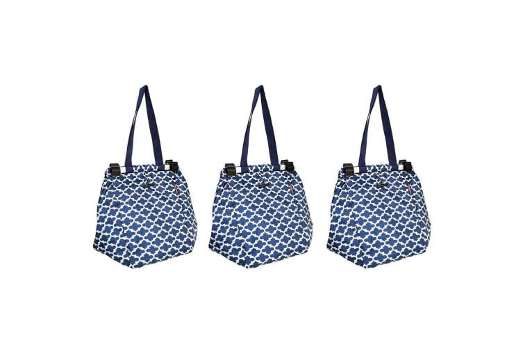 3PK Sachi Shopping Reusable Grocery Hand Shop Bag f  Cart Trolley Moroccan Navy