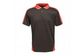 Regatta Mens Contrast Coolweave Polo Shirt (Black/Classic Red) (M)